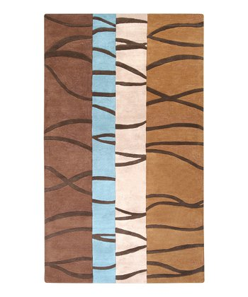 Brown Divided Mosaic Wool Rug