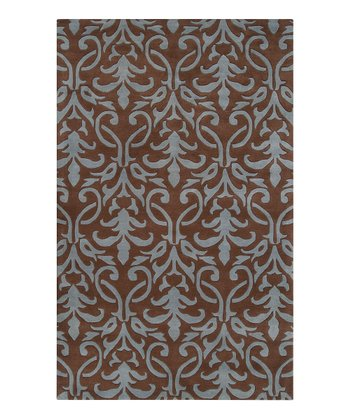 Coffee Bean & Slate Blue Oasis Wool Rug