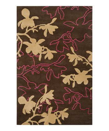 Dark Brown & Parsnip Modern Wool Rug