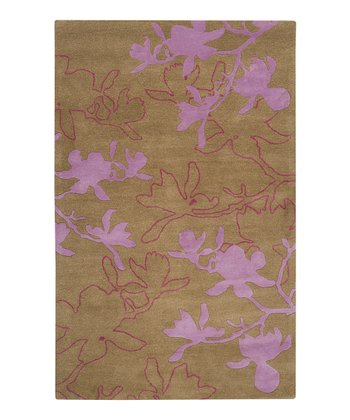 Tea Leaves & Orchid Modern Wool Rug