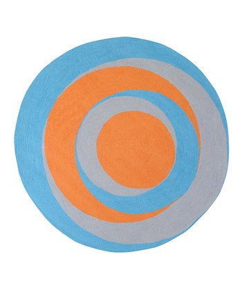 Blue & Orange Swirl Rug