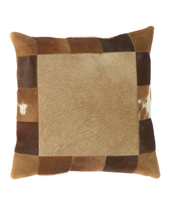 Caramel & Brown Leather Throw Pillow