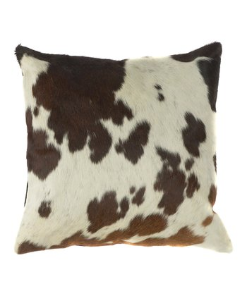 Ecru & Brown Leather Throw Pillow