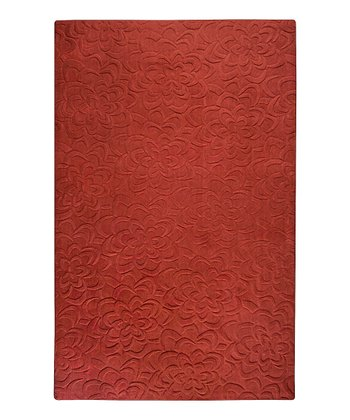 Burnt Red Bloom Sculpture Wool Rug