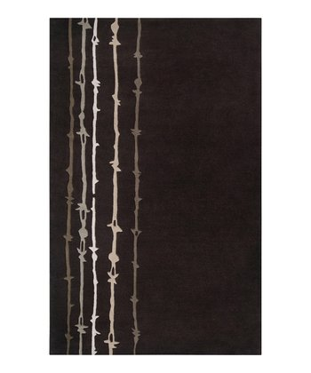 Dark Chocolate & Taupe Wool Barbed Signature Wool Rug