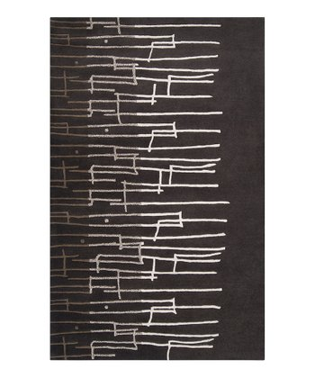 Black & Dark Taupe Graduated Signature Wool Rug