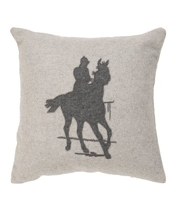 Oyster Gray & Pewter Polo Player Throw Pillow