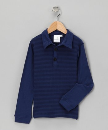 Indigo Fingerpick Organic Polo - Toddler & Boys