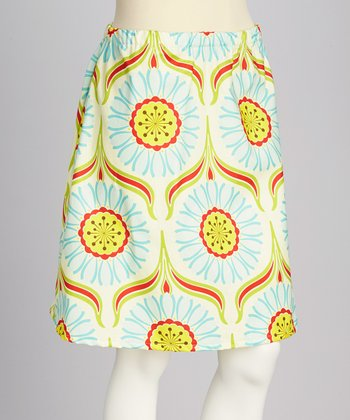 Pale Green Pop Flower Skirt - Women