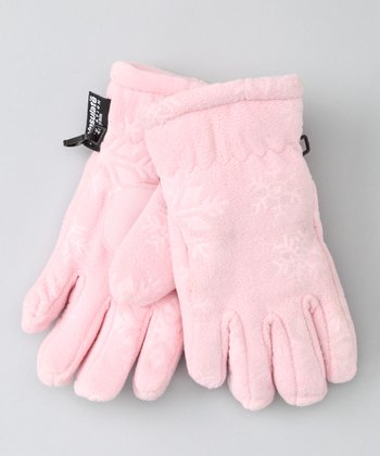 Pink Embossed Fleece Gloves