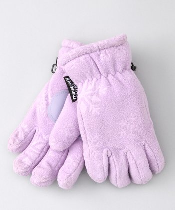 Purple Embossed Fleece Gloves