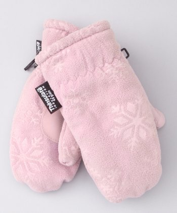 Pink Embossed Fleece Mittens