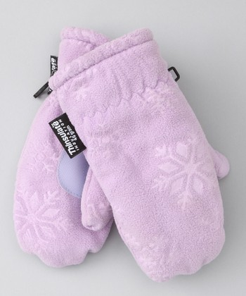 Purple Embossed Fleece Mittens