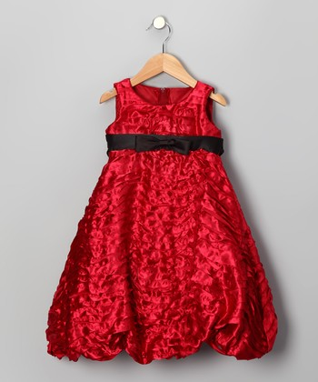 Red Taffeta Bubble Dress - Toddler & Girls