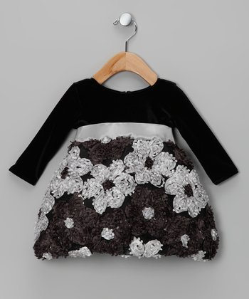 Black & Silver Ribbon Floral Dress - Infant & Toddler