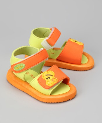 Orange & Lime Green Mouse Sandal