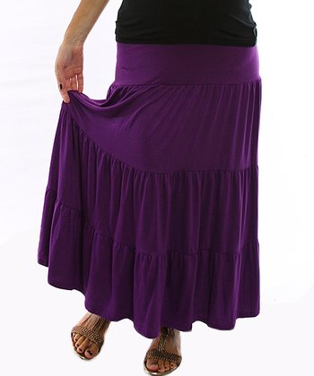 Purple Bohemian Maternity Maxi Skirt