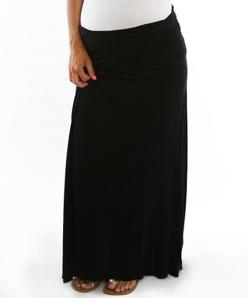 PinkBlush Black Mid-Belly Maternity Maxi Skirt