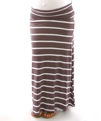 Mocha Stripe Mid-Belly Maternity Maxi Skirt