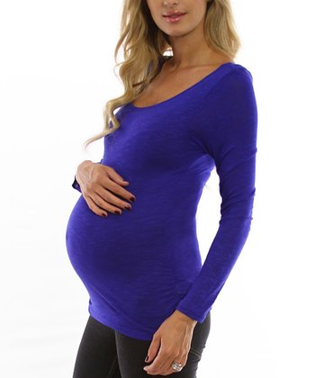 Deep Blue Maternity Long-Sleeve Shirt