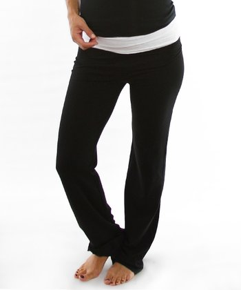 Black & White Lace Under-Belly Maternity Yoga Pants