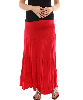 PinkBlush Red Bohemian Maternity Maxi Skirt - Women