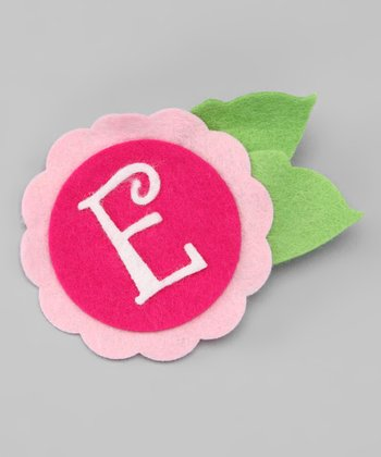 Sweet As Can Bee Pink 'E' Felt Flower Clip