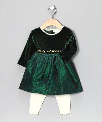 Sweet Baby Jane Green Dress & White Leggings - Infant