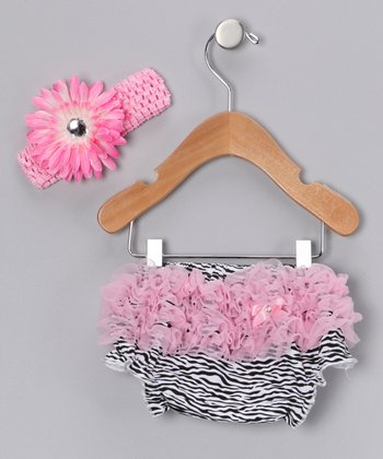 Black & Pink Zebra Diaper Cover & Headband