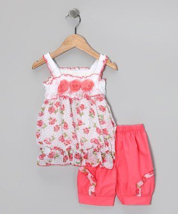 Peach Rose Tunic & Shorts - Girls