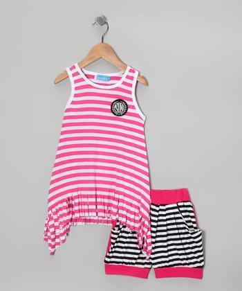 Pink & Black Stripe Tank & Shorts - Girls