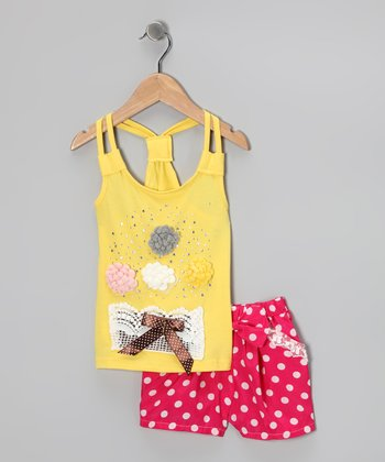 Yellow Flower Racerback Tank & Polka Dot Shorts - Girls