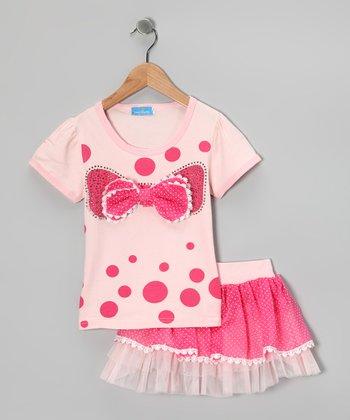 Pink & Peach Bow Tee & Skirt - Girls