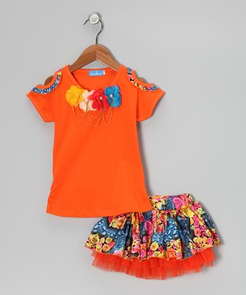 Orange Pearl Rosette Tee & Skirt - Girls