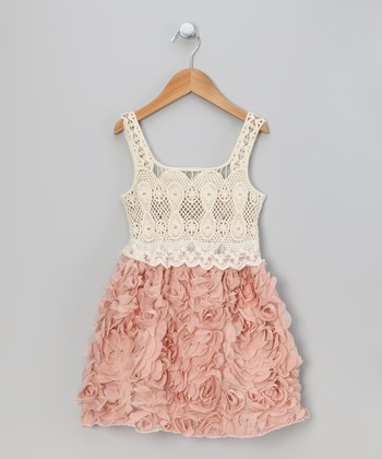 Rose Pink Crocheted Petal Dress - Toddler & Girls
