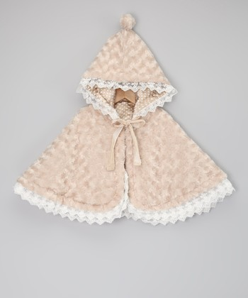 Beige Minky Swirl Reversible Cape - Infant, Toddler & Girls