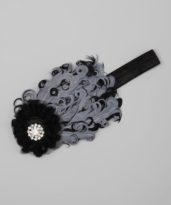 Black & Gray Rhinestone Feather Headband
