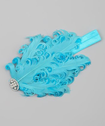 Light Blue & Turquoise Rhinestone Feather Headband