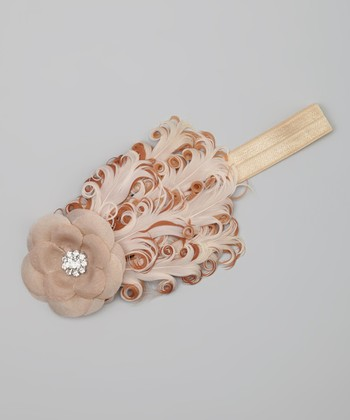 Tan & Cream Rhinestone Feather Headband