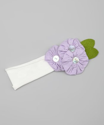 Purple Button Flower Headband