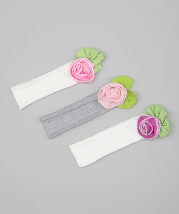 Pink & Purple Rose Headband Set