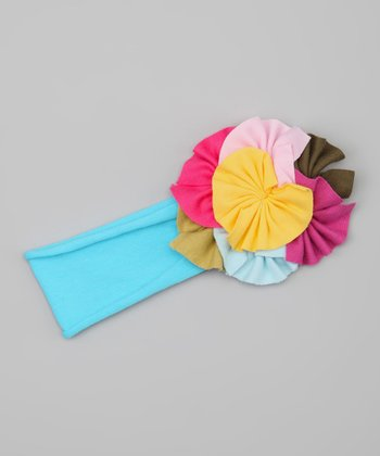 Yellow & Turquoise Flower Headband