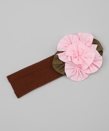 Pink & Brown Flower Headband