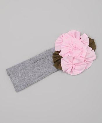 Pink & Gray Flower Headband