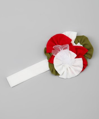 Red & White Flower Headband