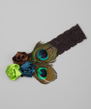 Brown & Green Peacock Rosette Headband