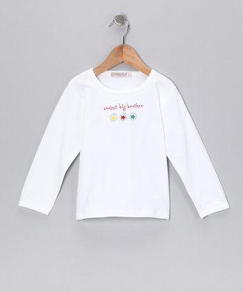 Sweet Cottons White 'Coolest Big Brother' Tee - Toddler