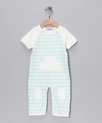 Sweet Cottons Blue & Cream Stripe Little Boy Blue Playsuit - Infant