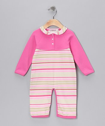 Sweet Cottons Pink & Cream Stripe Grace Playsuit - Infant