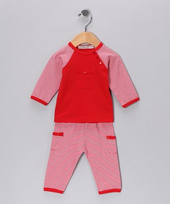 Red Stripe Long-Sleeve Top & Pants - Infant